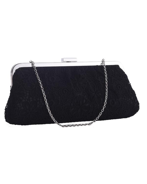 【ブラック】フラワーレース×サテン 肩掛けチェーン付き パーティバッグ