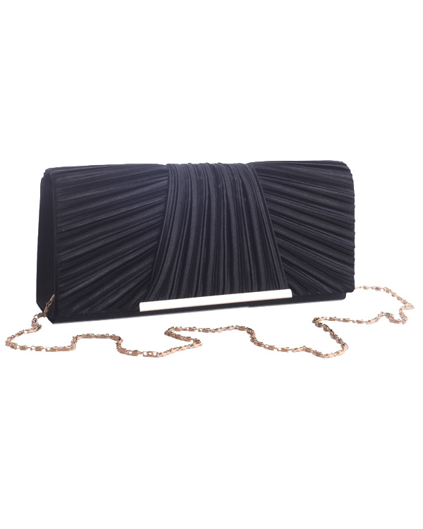 【ブラック】サテンプリーツ メタルアクセント スタイリッシュ パーティクラッチバッグ