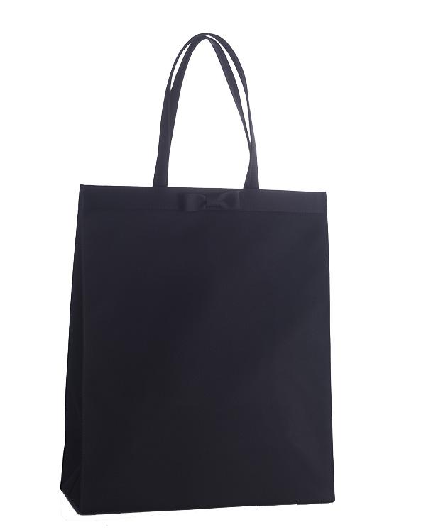 【ブラック】サテン リボンディテール ソフトタイプ 縦長 トートバッグ ご葬儀 お受験 卒業式 入学式