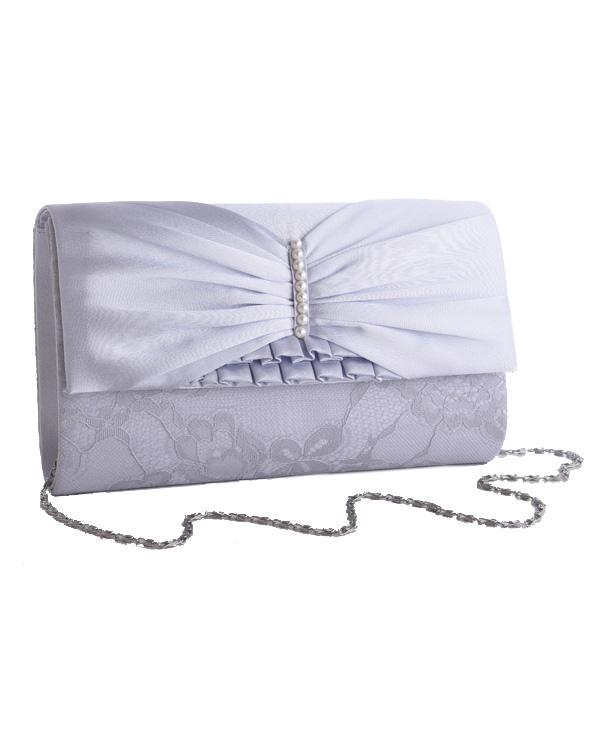 【シルバー】フラワーレース×サテン タックリボン ラインパール 肩掛けチェーン付き パーティクラッチバッグ