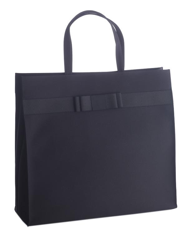 【ブラック】ジョーゼット×グログラン リボンディテール インナーマグネット 自立型 大容量 お受験 卒業式 入学式 トートバッグ
