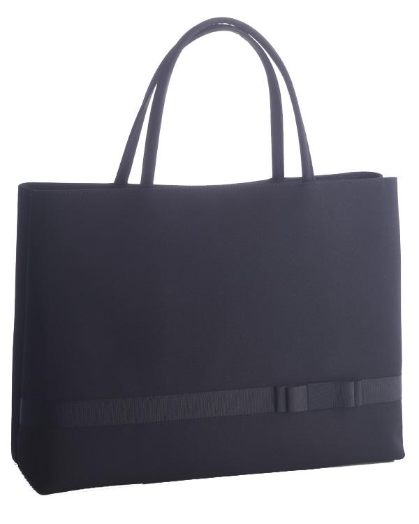 【ブラック】ジョーゼット×グログラン 中央仕切り 自立型 トートバッグ お受験 卒業式 入学式 セレモニー