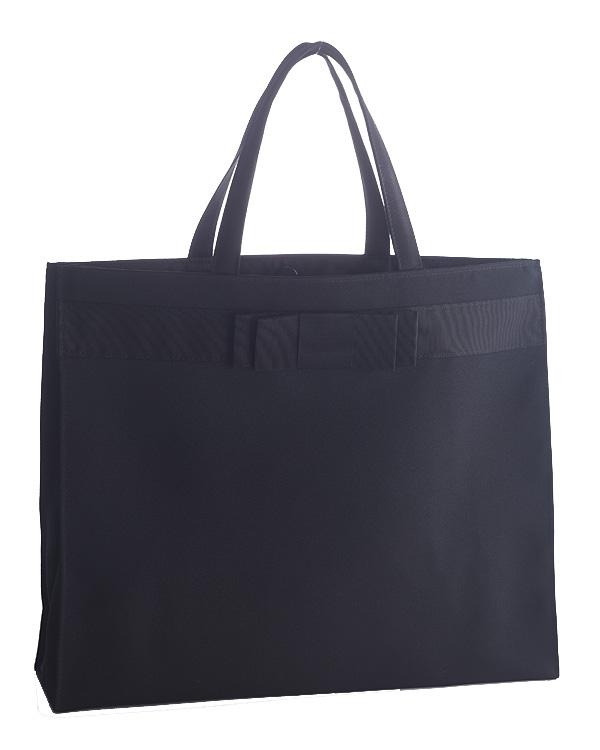 【ブラック】無地 グログランリボン 横長 マグネット付き 撥水加工 トートバッグ お受験 ご葬儀