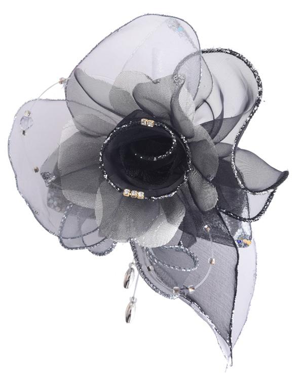 【ブラック×シルバー】 エレガントコサージュ
