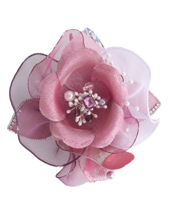 【ピンク×パープル】 ブローチ風コサージュ