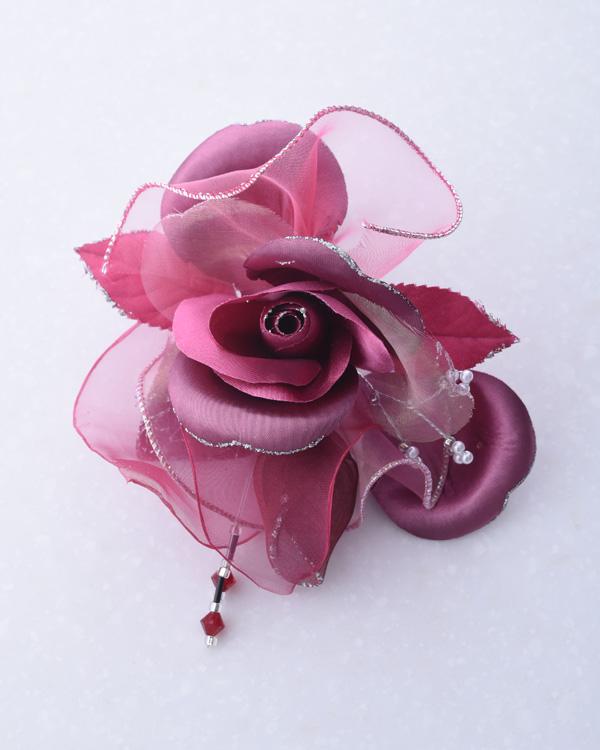 【ピンク】オーガンジー シルバーラメ エレガント フォーマルコサージュ