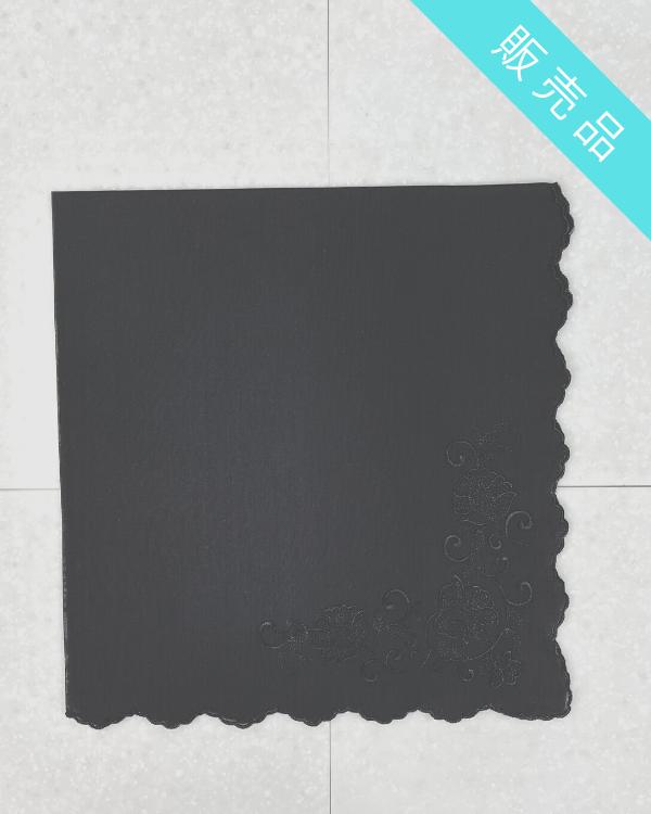 【ブラック】フォーマル用フラワー刺繍ハンカチ(販売)